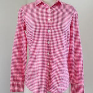 J. Crew Perfect Button Up Pink and white